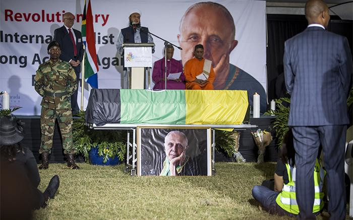The coffin of late struggle stalwart Ahmed Kathrada stands next to the stage at his official state funeral at Westpark cemetery in Johannesburg on 29 March 2017. Picture: Reinart Toerien/EWN