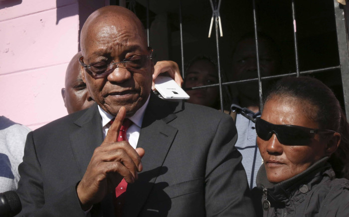 FILE: Jacob Zuma addresses the media outside the home of the murdered three-year-old Courtney Pieters. Picture: Cindy Archillies/EWN
