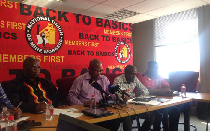 Members of the NUM NEC briefing the media following their meeting. Picture: Mia Lindeque/EWN.