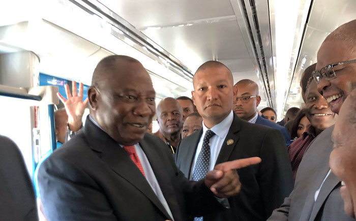 President Cyril Ramaphosa attended the unveiling of new trains in Cape Town, on 9 April 2019. Picture: @CapeTownTrains/Twitter