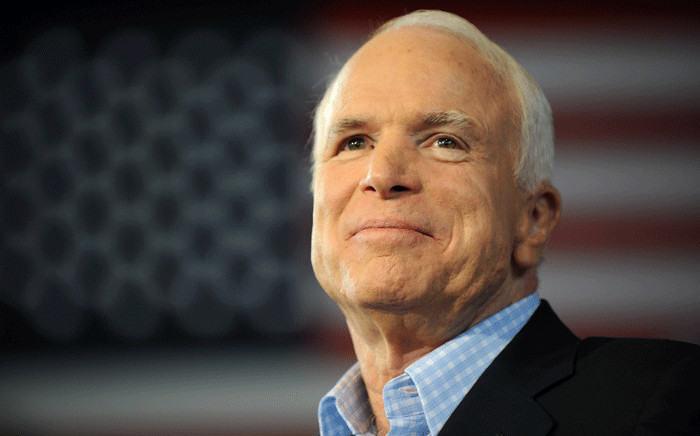 FILE: In this file photo taken on 05 September 2008 Republican presidential candidate John McCain pauses while addressing a campaign event at the Freedom Hill Ampitheatre in Sterling Heights, Michigan. Picture: AFP