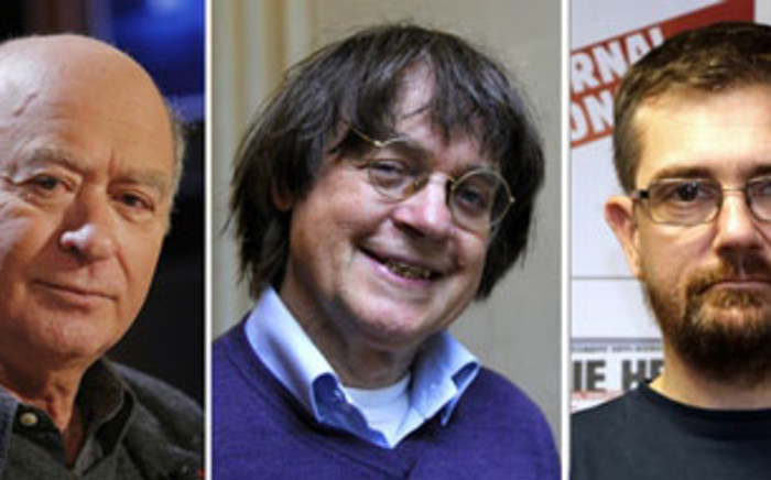 FILE: A combination of file photos made on January 7, 2015 shows (from L) French satirical weekly Charlie Hebdo's deputy chief editor Bernard Maris and cartoonists Georges Wolinski, Jean Cabut, aka Cabu, Charb and Tignous. Picture: AFP