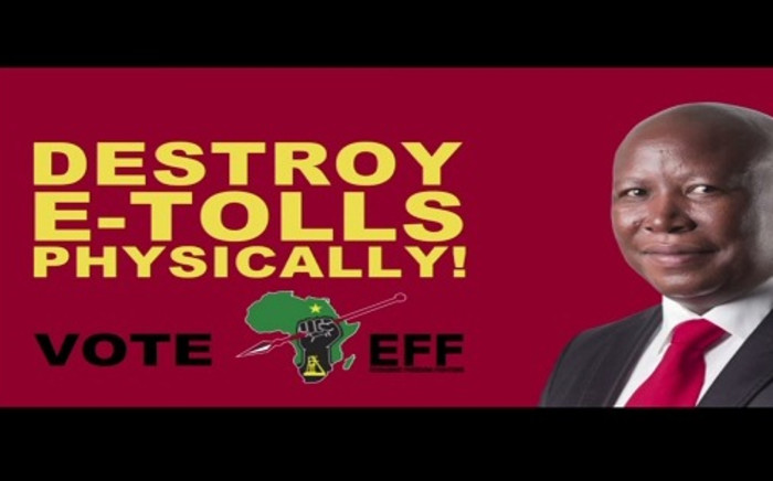 A placard shown during an EFF election campaign advert calls on viewers to destroy e-toll gantries. The SABC banned the advert, saying this is incitement of violence. Picture: EFF/YouTube.