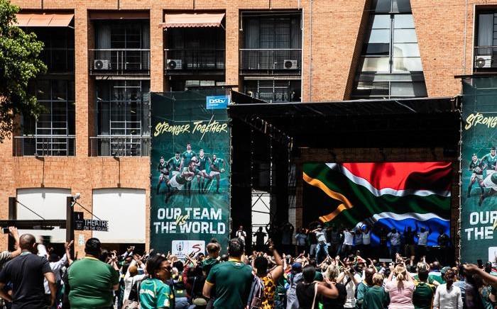 Springbok supporters outside Nelson Mandela Square, Sandton on 1 November 2019. Picture: Demi Buzo/EWN