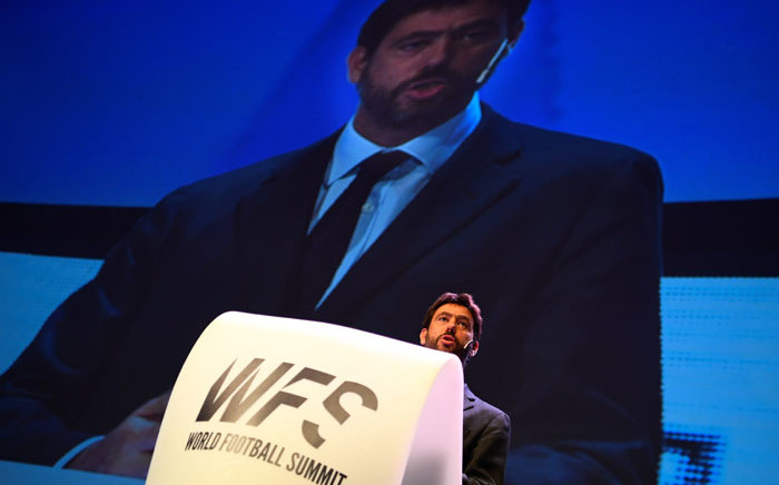 FILE: Juventus' president Andrea Agnelli gives a speech during the World Football Summit (WFS18) on 24 September 2018 in Madrid. Picture: AFP