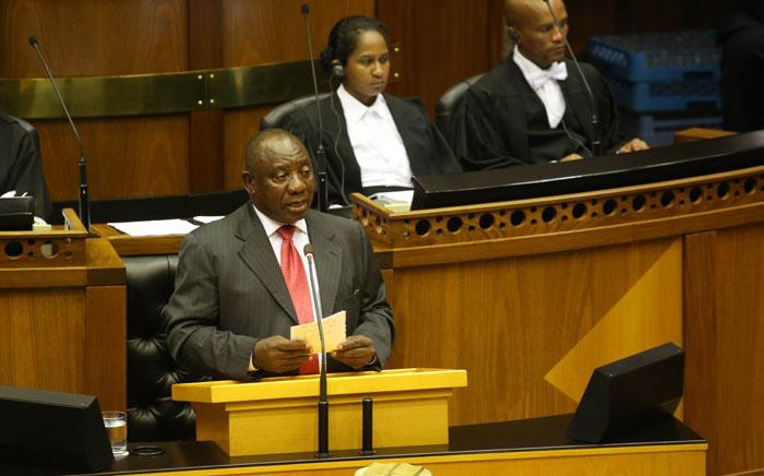 South Africa's new president Cyril Ramaphosa delivers a speech after being elected by the Members of Parliament in Cape Town, on 15 February 2018. Picture: Bertram Malgas/EWN
