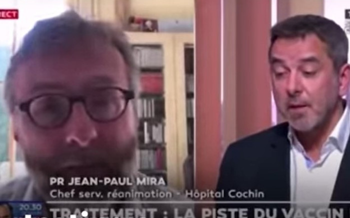 French doctor Jean-Paul Mira and his counterpart appeared on the French television channel LCI earlier this week to discuss the global COVID-19 pandemic. Picture: YouTube screengrab