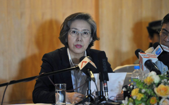 UN Special Rapporteur on Myanmar Yanghee Lee talks during a press conference in Yangon on 16 January, 2014. Picture: AFP