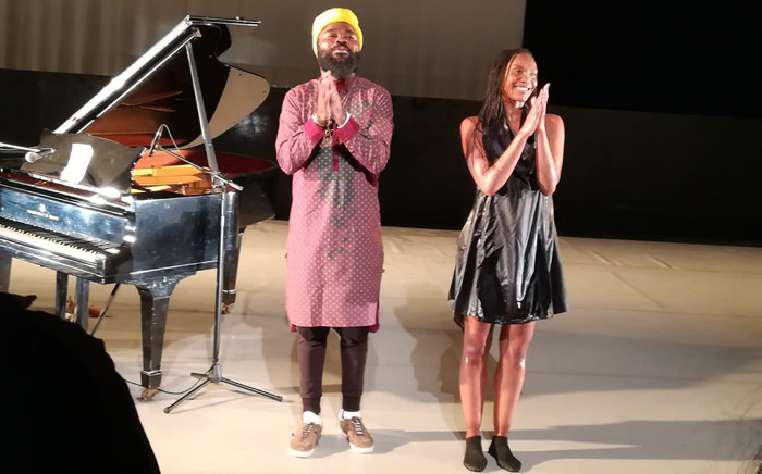 Nduduzo Makhathini and Kitty Phetla perform 'Going Back to the Truth of Space' at the National Arts Festival in Makhanda on 30 June 2019. Picture: Winnie Theletsane/EWN.