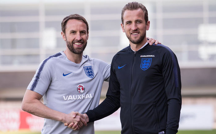 England manager Gareth Southgate (left) with England captain Harry Kane. Picture: @England/Twitter