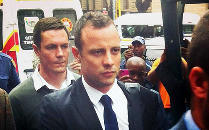 Oscar Pistorius arriving at the High Court in Pretoria on the fourth day of his murder trial, 6 March 2014. Picture: Christa Van der Walt/EWN.