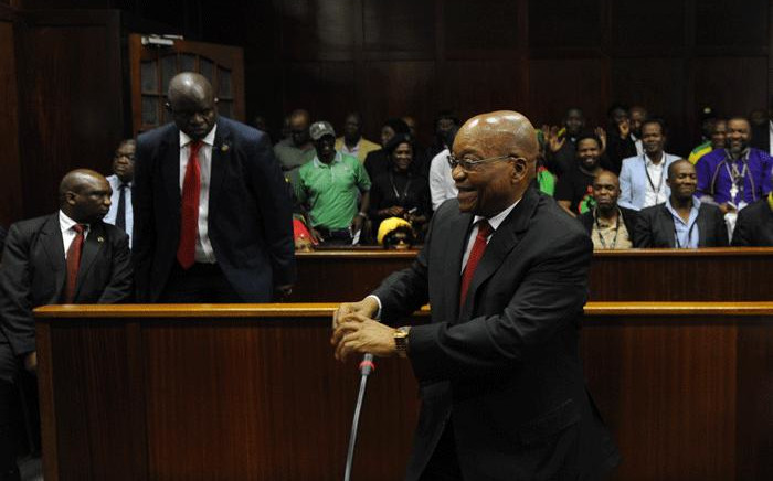 Former South African president Jacob Zuma in the dock at the Durban High Court on 6 April 2018 for a preliminary hearing related to charges of fraud, corruption and racketeering. Picture: Felix Dlangamandla/Pool Photo