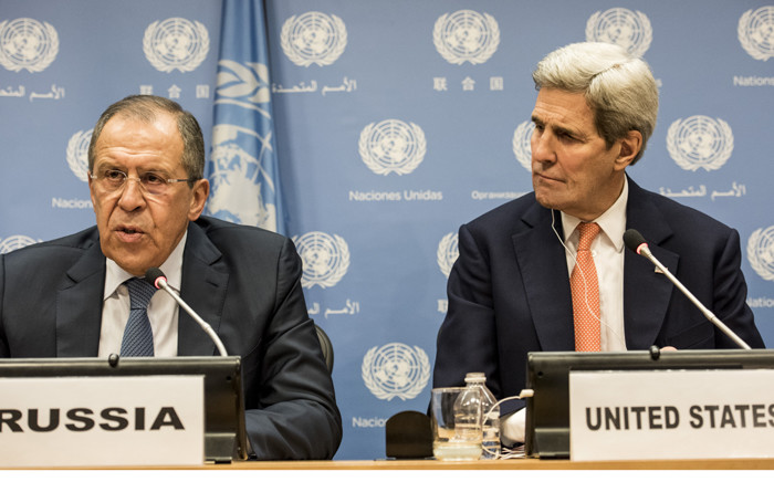 FILE: Foreign Minister of Russia Sergey Lavrov and US Secretary of State John Kerry speak at a news conference after a United Nations Security Council meeting on Syria at the United Nations in New York on 18 December 2015. Picture: Getty Images/AFP.