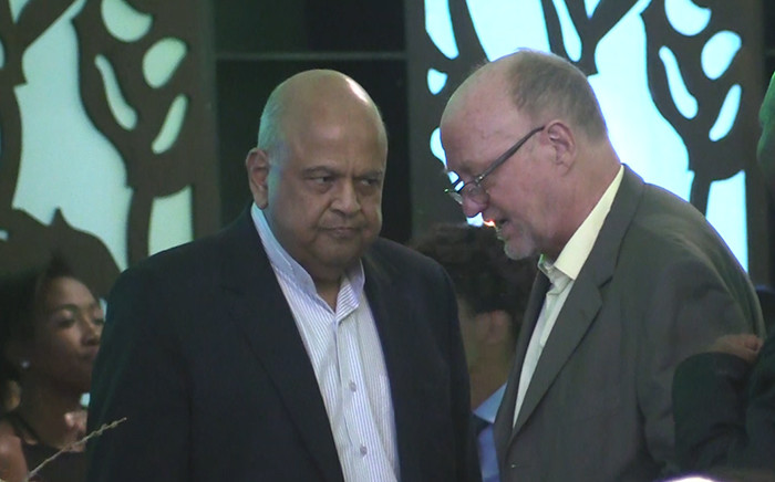 "FILE: Finance minster Pravin Gordhan and Tourism Minister Derek Hanekom. Picture: Kgothatso Mogale/EWN"""