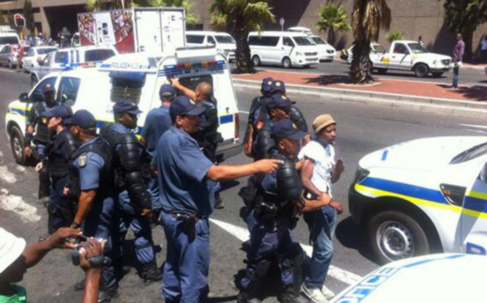 Police moved in to make more arrests during the illegal protest in Cape Town CBD on 27 February 2014. Picture: Siyabonga Sesant/EWN.