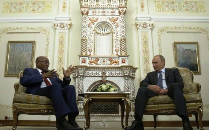 President Jacob Zuma and Russian President Vladimir Putin. Picture: AFP.