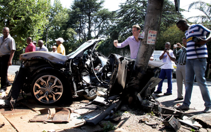 An Audi R8 was involved in a fatal accident on Oxford road, near Rosebank, that left two people dead. Picture: Sebabatso Mosamo/EWN