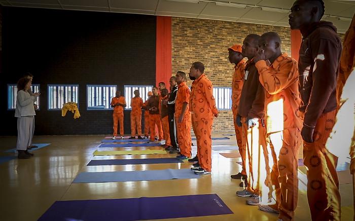 Prison Freedom Project co-founder Leela Codron briefs a class before the start of a yoga session at Malmesbury prison. Picture: Aletta Gardner/EWN