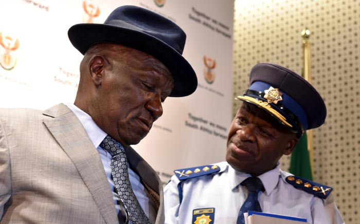 FILE: Police Minister Bheki Cele and National Commissioner Khehla Sitole. Picture: GCIS