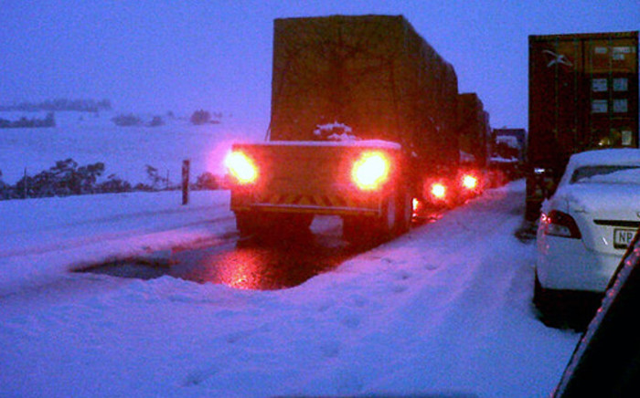 Traffic stuck on the N3 just before Mooi River on 8 August 2012. Picture: via Twitter @loppi1107