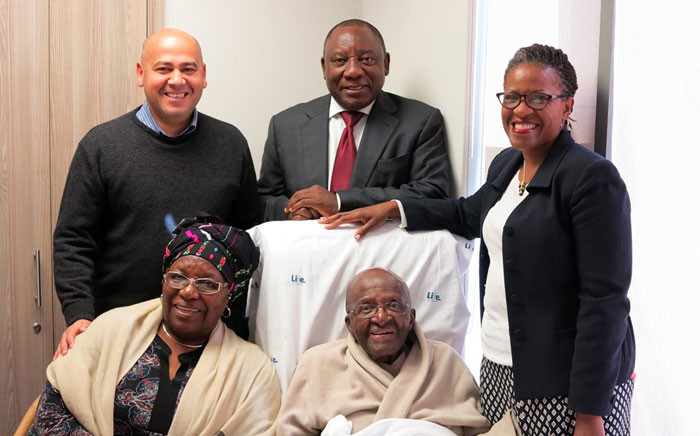 Archbishop Desmond Tutu surrounded by his wife Leah Tutu, daughter Mpho Tutu Von Furth, Deputy President Cyril Ramaphosa and Western Cape African National Congress secretary Faiez Jacobs. Picture: Benny Gool/iWitness.