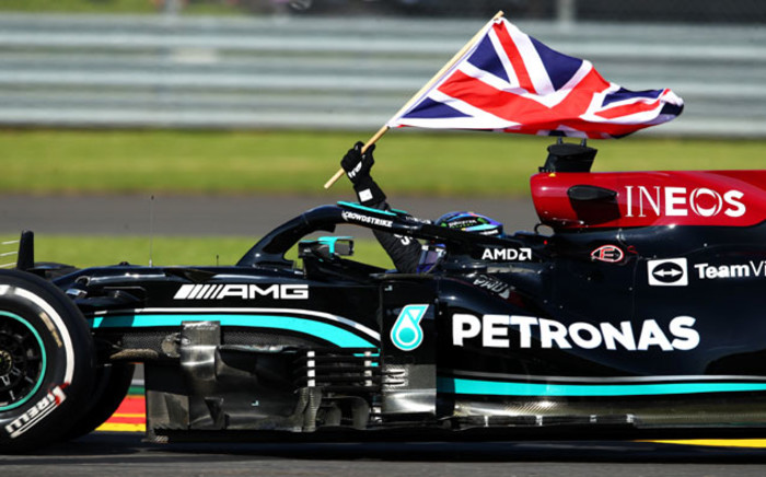 Mercedes drive Lewis Hamilton celebrates his victory in the British GP at Silverstone on 18 July 2021. Picture: @F1/Twitter