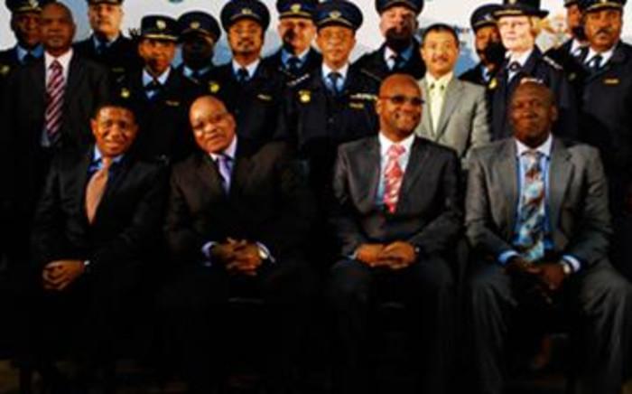 From left: Deputy Police Minister Fikile Mbalula, President Jacob Zuma, Police Minister Nathi Mthethwa and new National Police Commissioner Bheki Cele. Picture: Taurai Maduna/Eyewitness News
