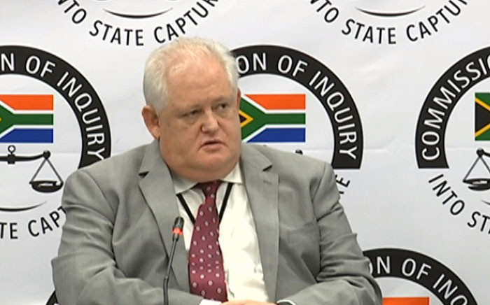 A YouTube screengrab shows Angelo Agrizzi at the state capture inquiry on 29 January 2019.