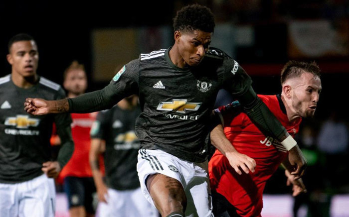 Manchester United's Marcus Rashford scores against Luton Town in their English League Cup match on 22 September 2020. Picture: @ManUtd/Twitter