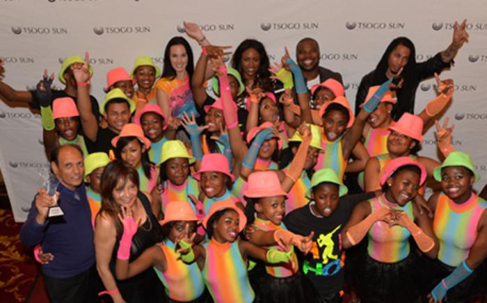 Tsogo Sun Best overall production award High school group, Johannesburg Secondary School , with Tamerin Jardine, Koketso Modiba and Angelo Collins. Picture: Rebecca Hearfield.