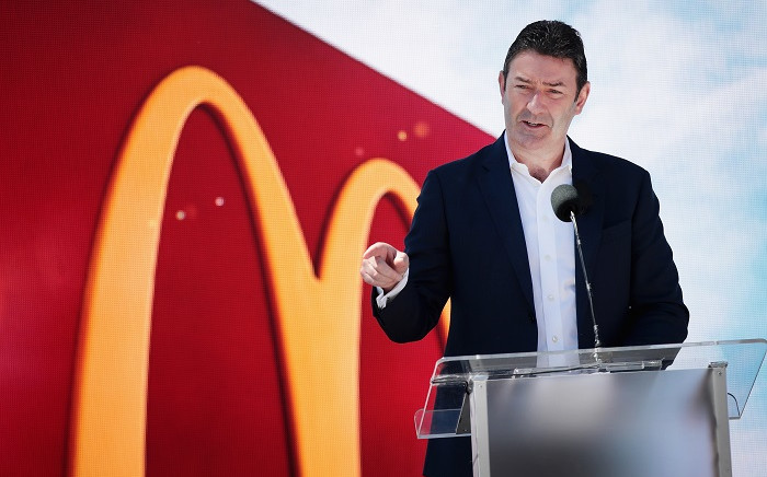 McDonald's CEO Stephen Easterbrook unveils the company's new corporate headquarters during a grand opening ceremony on 4 June 2018 in Chicago, Illinois. Picture: AFP