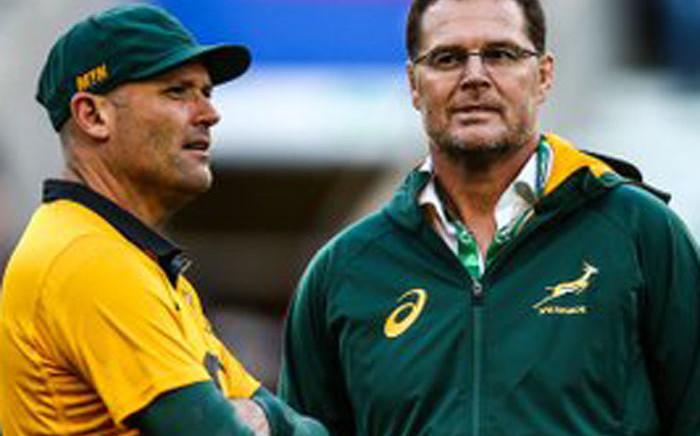 New Springbok coach Jacques Nienaber with outgoing coach Rassie Erasmus. Twitter/Springboks