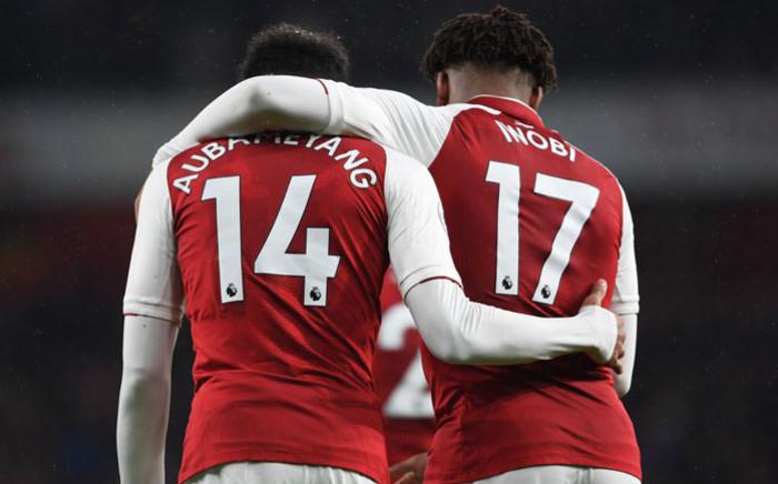 Arsenal's Pierre-Emerick Aubameyang and Alex Iwobi celebrate a goal. Picture: @Arsenal/Twitter