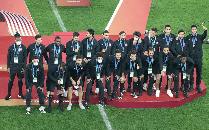 Ahly players pose with their medals after the FIFA Club World Cup final football match between Germany's Bayern Munich vs Mexico's UANL Tigres at the Education City Stadium in the Qatari city of Ar-Rayyan on February 11, 2021. Picture: Karim Jaafar / AFP.