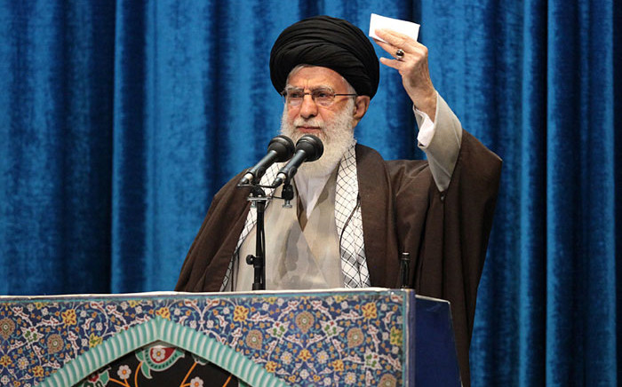 A handout picture provided by the office of Iran's Supreme Leader Ayatollah Ali Khamenei on 17 January 2020 shows him delivering a sermon to the crowd during Friday prayers in the capital Tehran. Picture: AFP