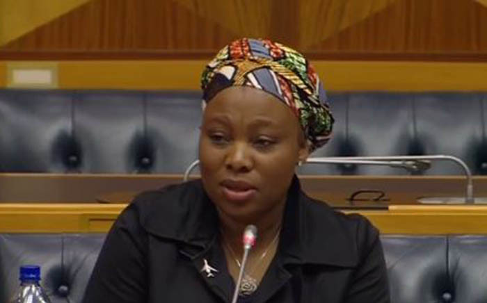 Former Independent Communications Authority of South Africa (Icasa) councillor Nomvuyiso Batyi in Parliament for her interview to be part of the SABC board. Picture: YouTube