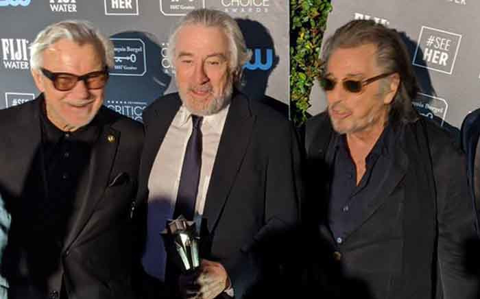 Harvey Keitel, Robert de Niro and Al Pacino led the cast of The Irishman which won the best ensemble gong at the Critics' Choice Awards. Picture: Twitter/@CriticsChoice