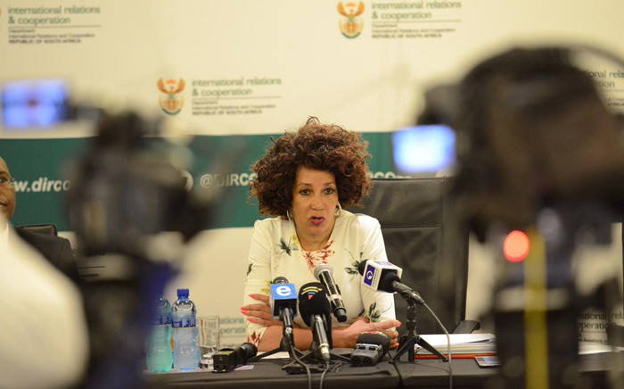 Minister of International Relations and Cooperation Lindiwe Sisulu briefed the media on 13 January 2019 on the recent international developments, including the recent DRC elections, UN Security Council agenda and upcoming international engagements for South Africa. Picture: @DIRCO_ZA/Twitter