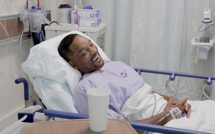 A screengrab shows US star Will Smith in hospital following his operation. Picture: Will Smith/Youtube.com