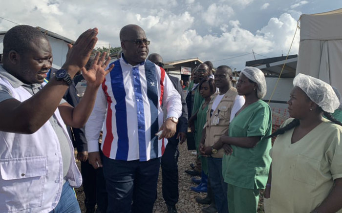 DRC President Felix Tshisekedi tours a facility. Picture: @Presidence_RDC/Twitter