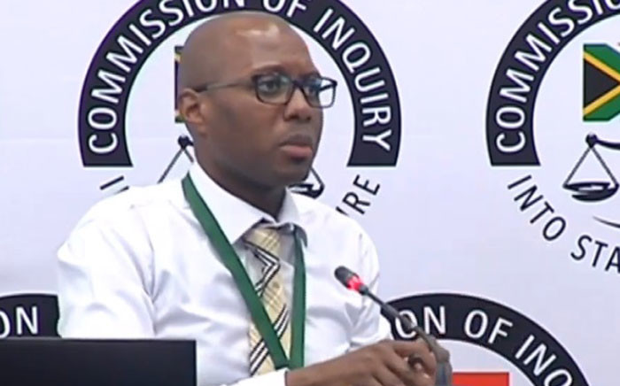 A screengrab shows expert witness Alister Chabi at the state capture inquiry on 27 November 2019.