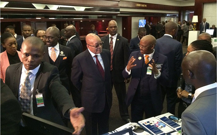 President Jacob Zuma and Home Affairs Minister Malusi Gigaba launched the E-channel pilot project in Midrand on 7 April 2016. Picture: EWN.