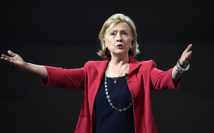 Former US Secretary of State Hillary Clinton delivering a speech during a conference at the National Auditorium in Mexico City. Hillary Clinton launched her bid 12 April, 2015 to become the first woman to win the White House. Picture: AFP.