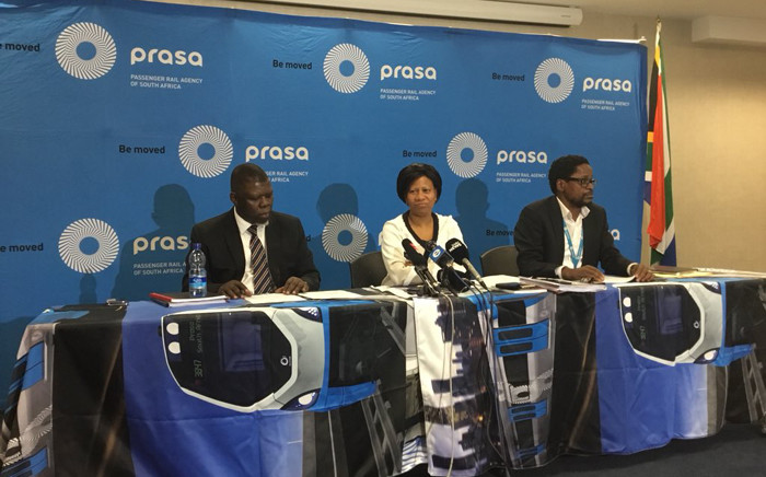 FILE: Former Prasa interim CEO Sibusiso Sithole and former board chair Khanyisile Kweyama addressing the media in 2018. Picture: Clement Manyathela/EWN