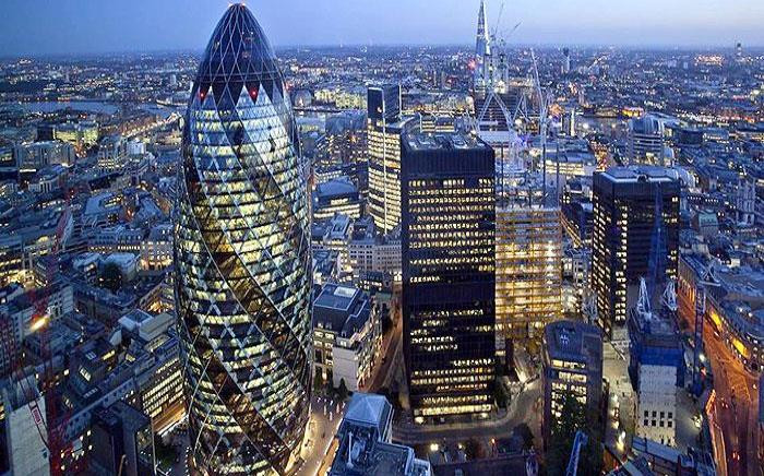 The city of London with the iconic 'Gherkin' tower officer building on the left. Picture: Cityguide of London Facebook page.