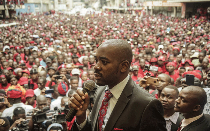 FILE: Zimbabwe opposition party Movement for Democratic Change (MDC) acting President Nelson Chamisa delivers a speech outside the party headquarters Harvest House in Harare, on 18 February 2018. Picture: AFP.