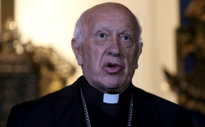 Santiago's Archbishop Ricardo Ezzati speaks during a press conference at the Metropolitan Cathedral in Santiago, on 18 May, 2018. Picture: AFP.