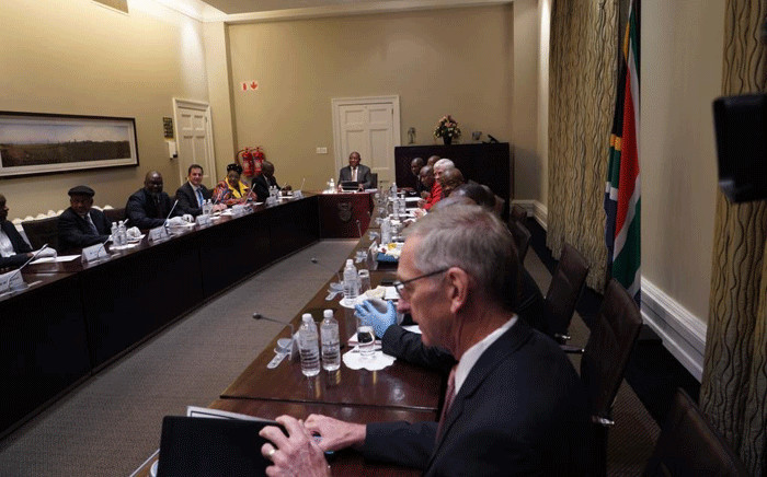 President Cyril Ramaphosa held a meeting with political party leaders on 18 March 2020 to discuss the national response to the Coronavirus (COVID-19) disaster. Picture: Kevin Brandt/EWN.