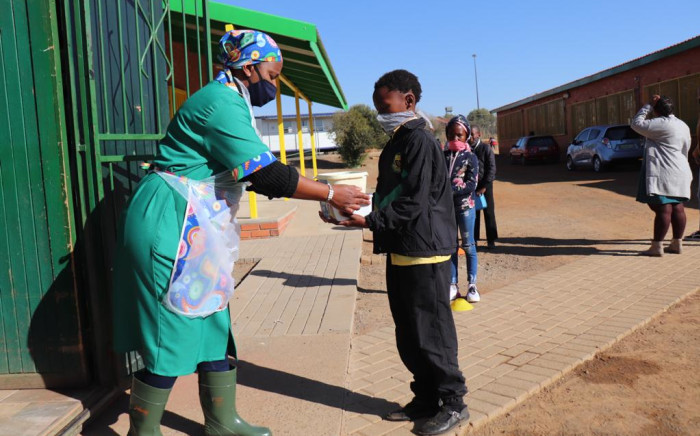 A pupil receives a meal at Kgato Primary School in Bloemfontein. Picture: Department of Basic Education/Twitter