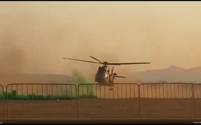 A screengrab of the SA Air Force Oryx helicopter crash landing during a capability demonstration at the Roodewal Weapons Range outside Polokwane.